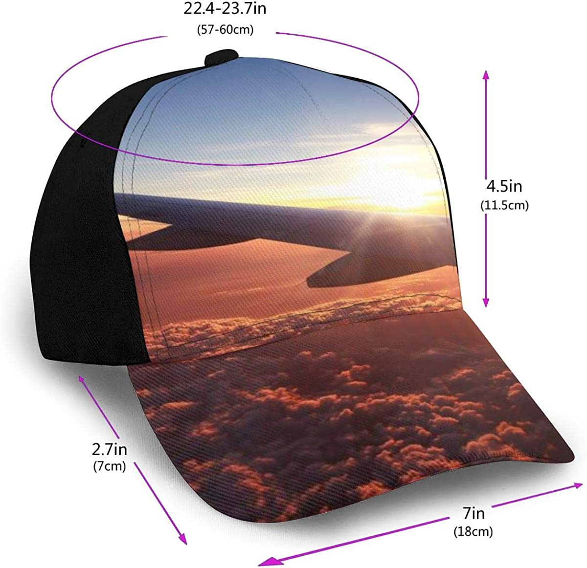 Airplane and Sunlight Classic Baseball Cap Men Women Dad Hat Twill Adjustable Size Black