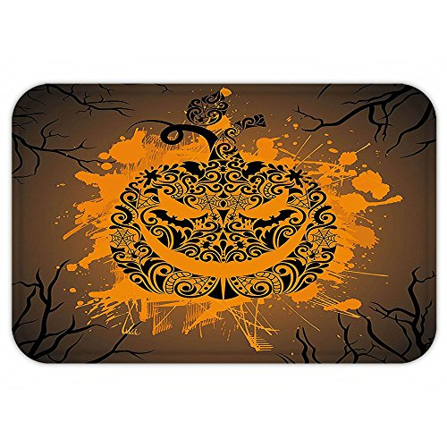 Fire And Ice Themed Costume (VROSELV Custom Door MatHalloweenDecoration Collection Engraved Pumpkin with Fire Flame Inspired Color Splash Ghost Party Themed Art Brown Orange)