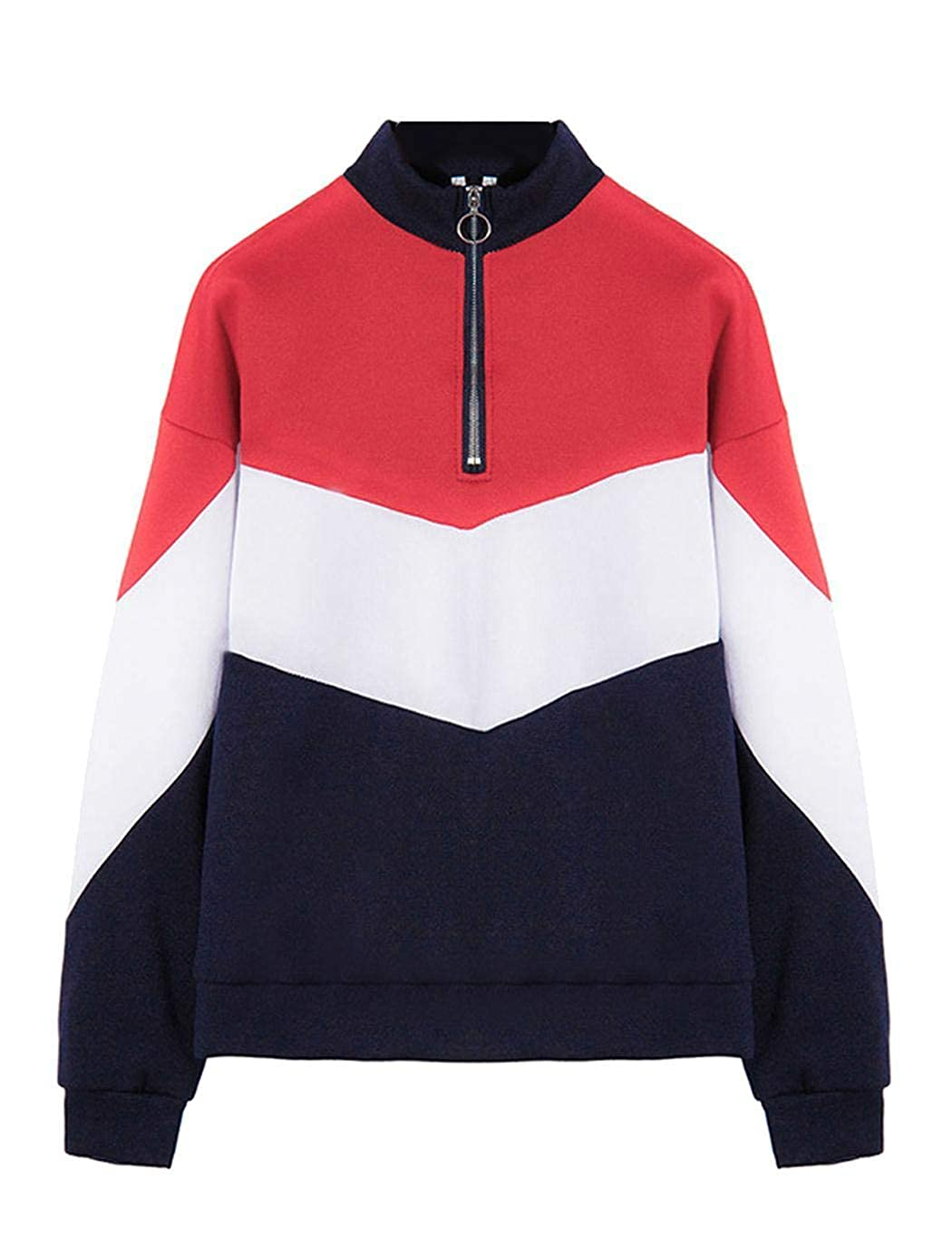 Lioder Women Casual Contrast Color Patchwork Long Sleeve Pullover Sweatshirt Top Fashion Hoodies