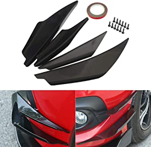 GreceYou 4pcs Black Front Bumper Canards Splitter Body Diffuser Fins Body Spoiler Canard Universal Fit for Any Car