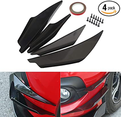 iJDMTOY 4pcs Black Front Bumper Canard Body Diffuser Fins Universal Fit For Any Car