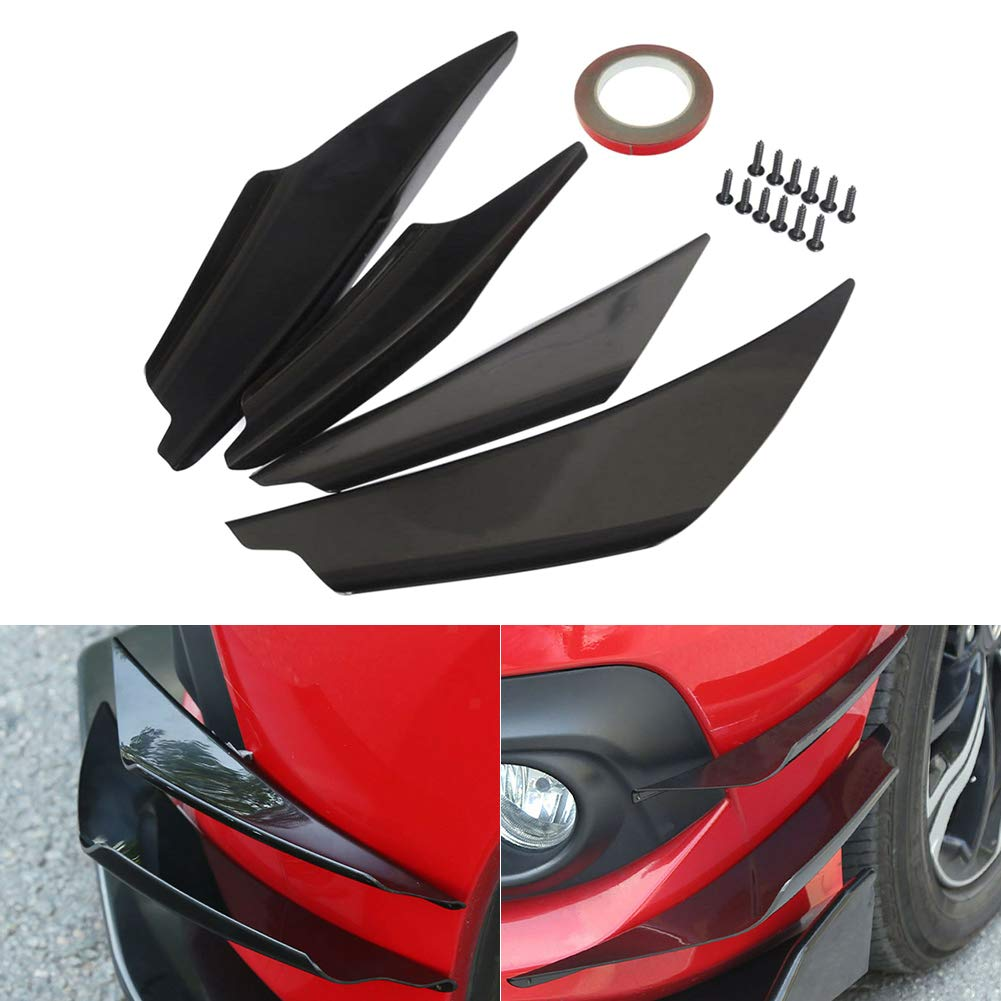 JUST N1 4pcs Front Bumper Canard Carbon Fiber Lip Spoiler Body Diffuser Fins Universal Splitter Fins Fit for Any Car Black