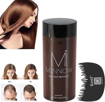 Fibras para la construcción del cabello, Polvos para el cabello Minnow 4 Tipos Mujeres Hombres Calvicie Corrector Engrosante Polvo para la construcción del cabello(Marrón Medio): Amazon.es: Belleza