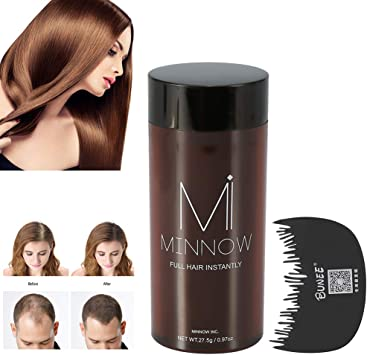 Poudre de cheveux et fibres capillaires pour homme et femme Poudre de calvitie Poudre épaississante avec peigne à cheveux professionnel