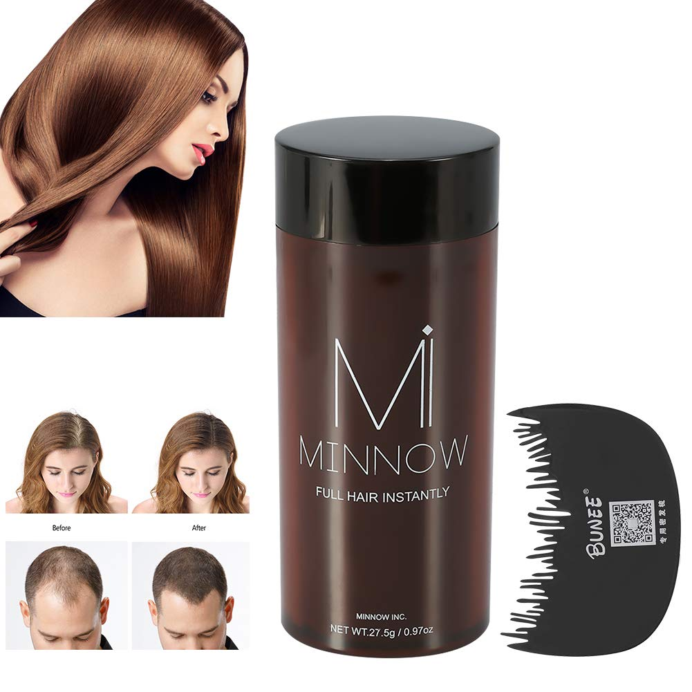 Hair Building Fibers, Hair Powder Minnow 4 Types Women Men Baldness Concealer Thickening Hair Building Fibers Powder With Professional Hair Comb (Black) Semme