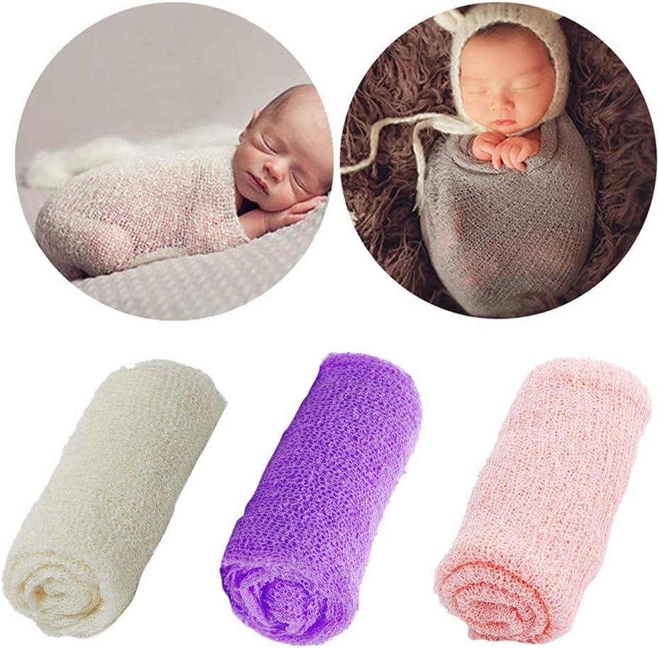 el/ástica para decoraci/ón de fotos con diadema de flores rosa rosa ideal para reci/én nacidos suave y envolvente Manta de encaje para beb/é ChanYYw