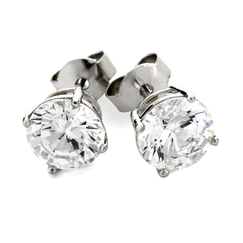 925 Sterling Silver Stud earrings Cubic Zirconia Round CZ Hypoallergenic Earrings (Silver 5MM Round)