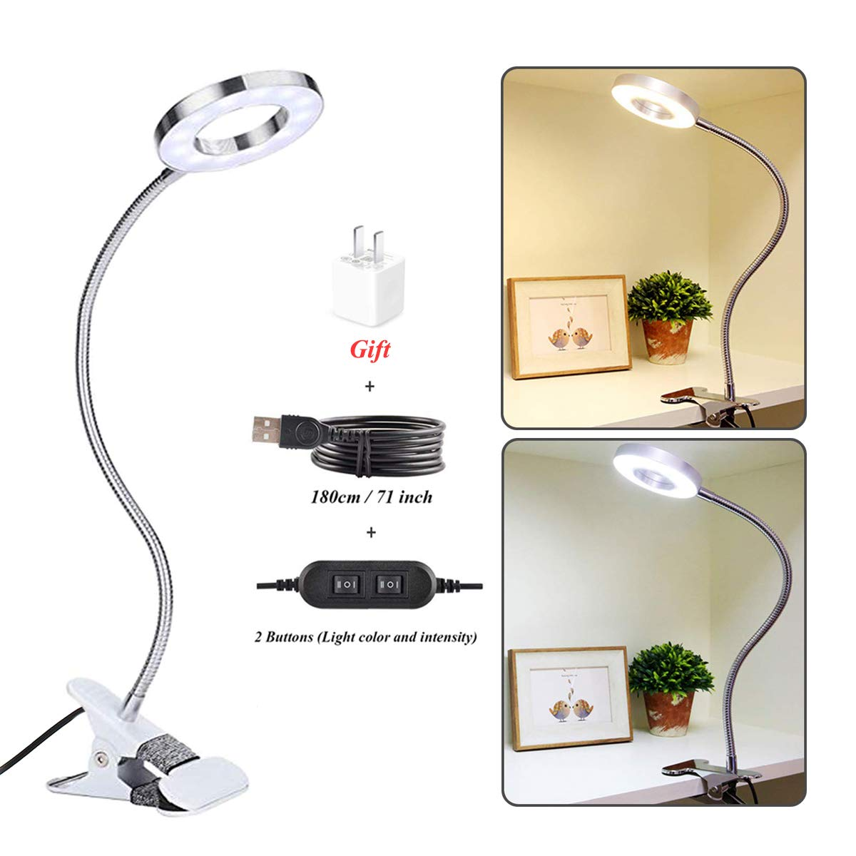 CLOOOUDS 7W Clip on Light, Eyelash Extension Light, LED Clip On Lamp, USB Eye-Care Book Light, Bed Lamp, Tattoo,Nail Art, Makeup Desk lamp, Warm Light and White Light, Adapter Included
