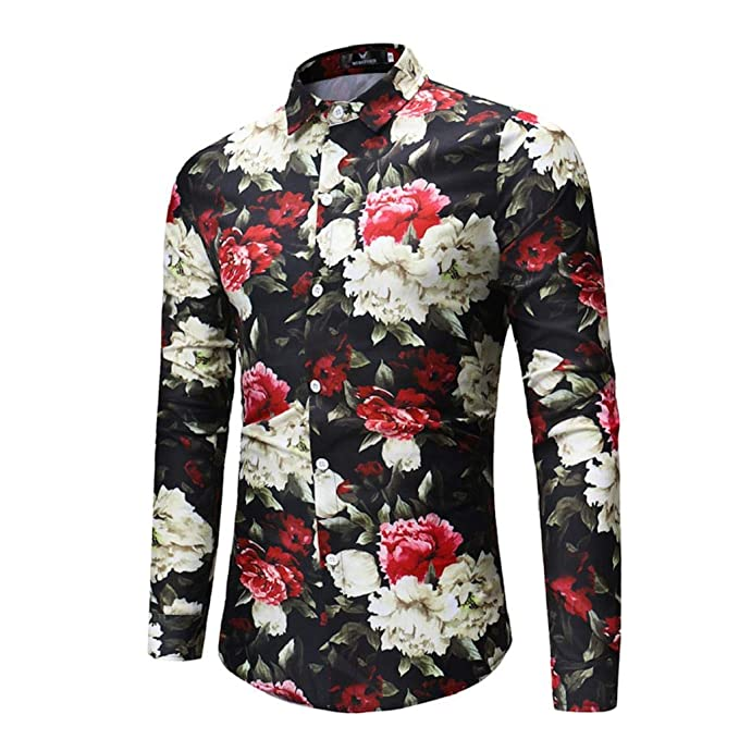 3c2570180 QUICKLYLY Camisa Hombre Manga Larga Estampada Flores Ancla Vintage Regular Camisas  Vestir Fiesta