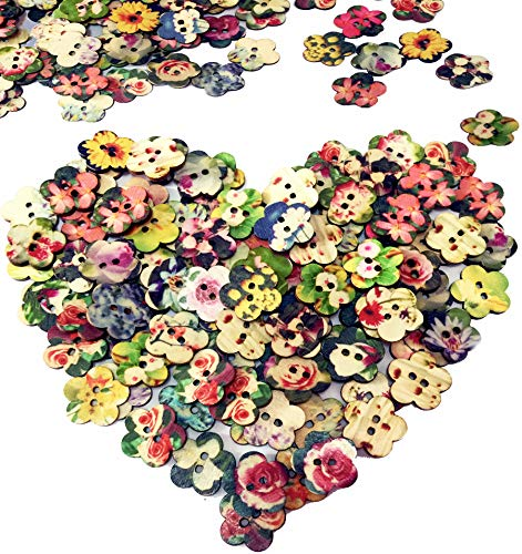 (100 PCS Handmade Painting Wooden Buttons Floral Shape with 2 Holes for DIY Crafts Decor)