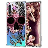 MOSNOVO for Galaxy Note 10 Plus Case,Galaxy Note 10 Plus 5G Case, Skull Floral Skeleton Flower Crystal Clear Design Shock Absorption Bumper Soft TPU Cover Case for Samsung Galaxy Note 10 Plus 5G