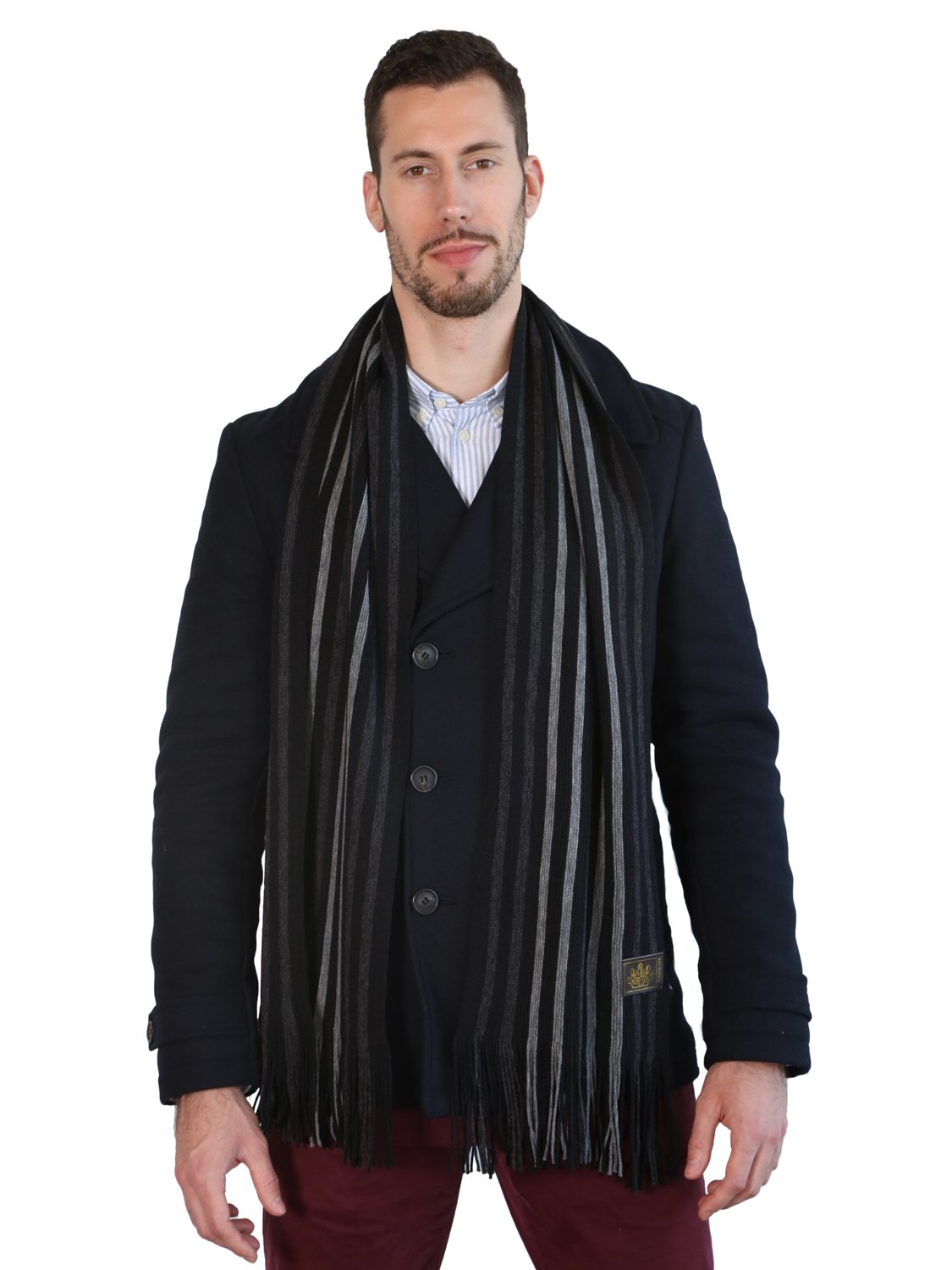 Rio Terra Men's Knitted Scarf, Designer Scarves for Winter Fall Fashion, Silver & Grey by Rio Terra (Image #5)