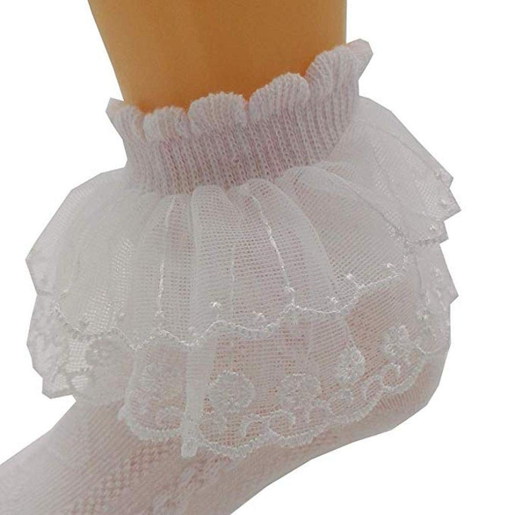 Solid Lace Socks Baby Net Socks Solid Sock Ankle Socks Super Soft Lace Frilly Ankle Socks Koojawind 5Pc Toddler Baby Girls Ladies Chic Lace Frill School Socks Pink White Creams
