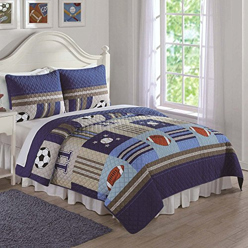 Cheap Laura Hart Denim and Khaki Sports Quilt Set