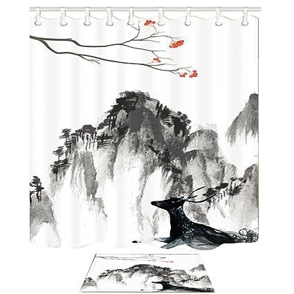 Decoración de paisajes Pintura china Estilo Acuarela Ciervos negros Siéntese en la montaña profunda Láminas de