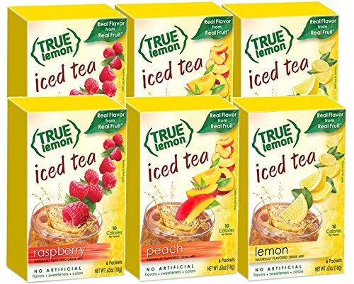 LEMON, RASPBERRY & PEACH ICED TEA MIX by TRUE LEMON | Instant Powdered Drink Packets That Quench YOUR Thirst, Kit Includes 2 Boxes each flavor (6bx total) of Mouth Watering True Citrus (ICED TEA), Red by True Citrus