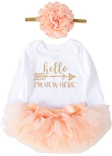 e7dd0fb08dbe3 OoSweetCharlotteoO Newborn Baby Girl Coming Home Outfit Hello I am New here  Bodysuits 3pcs (Newborn