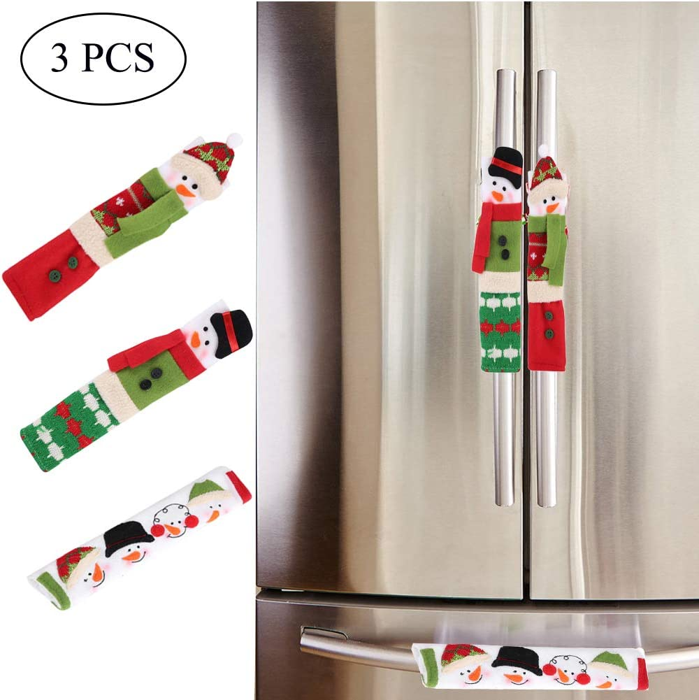 Orgrimmar Set of 3 Snowman Refrigerator Handle Covers Christmas Kitchen Appliance Handle Covers for Home Appliance Decorations
