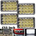 4X6 Sealed Beam LED Headlights High Low Beam for Kenworth Chevrolet Peterbilt Rectangular Headlamps Super Bright Replacement H4651 H4652 H4656 H4666 H6545, 2 Year Warranty