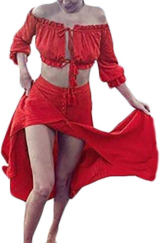 Mujer Faldas Largas Elegante Verano Playa Dulce Lindo Chic Barco ...