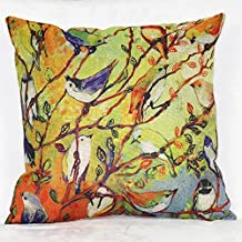 Yikai Oil Painting Colorful Big Birds Cotton Linen Throw Pillow Case Cushion Cover Home Sofa Decorative 18 X 18 Inch
