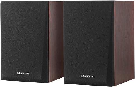 Krüger & Matz km0538Activa–Altavoces de estantería 2.0Spirit, Bluetooth furniertes Madera/Marrón