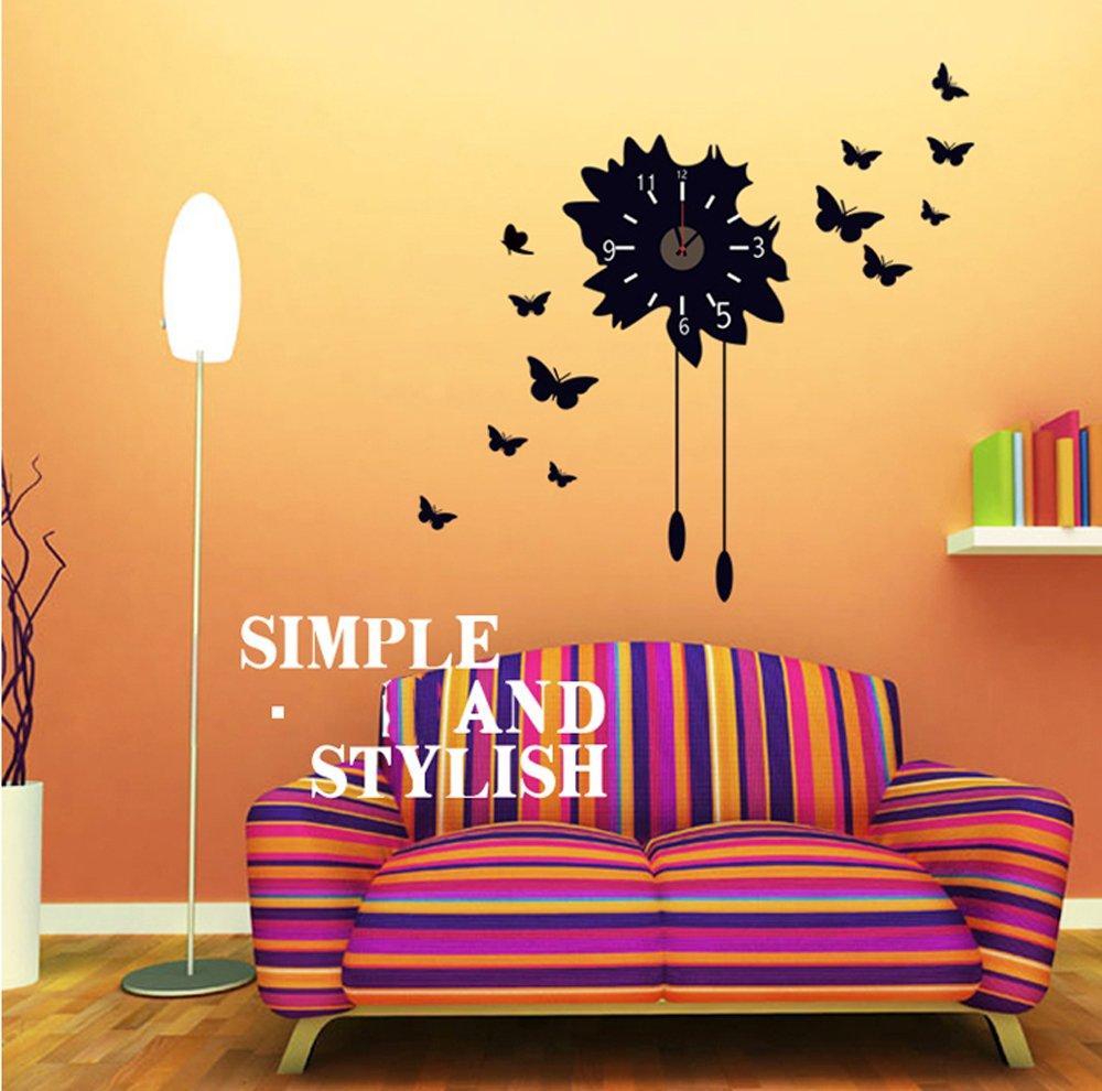 ufengke® farfalle nere diy orologio da parete adesivi murali ... - Camera Da Letto Diy