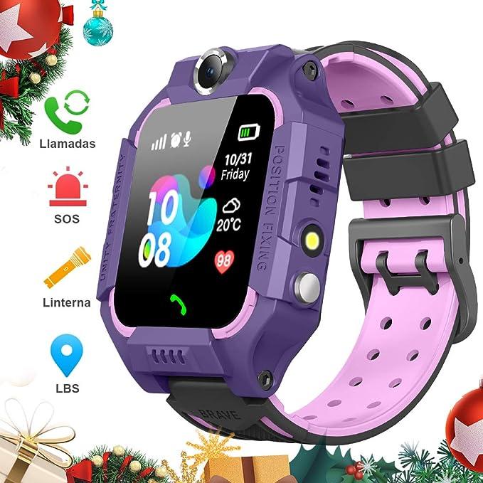BANLVS Smartwatch Niños, 2019 Nuevo Reloj Inteligente Niños con Flashlight, IP67 LBS SOS, Cámara, Smartwatch con Ranura para Tarjeta SIM, Regalo Niño ...