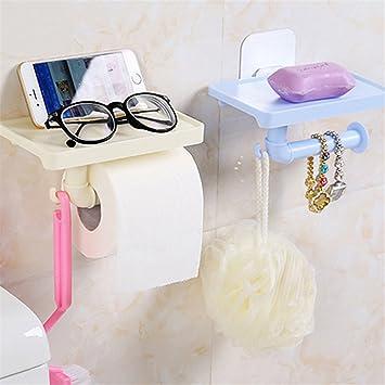 Hookup Portarrollos de papel higiénico autoadhesivo de plástico para colgar toallas, organizador de baño: Amazon.es: Hogar