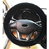 Demiawaking Universal Soft Warm Steering Wheel Cover Fluffy Faux Fur Steering Wheel Protection Covers Wrap for Winter (Black)