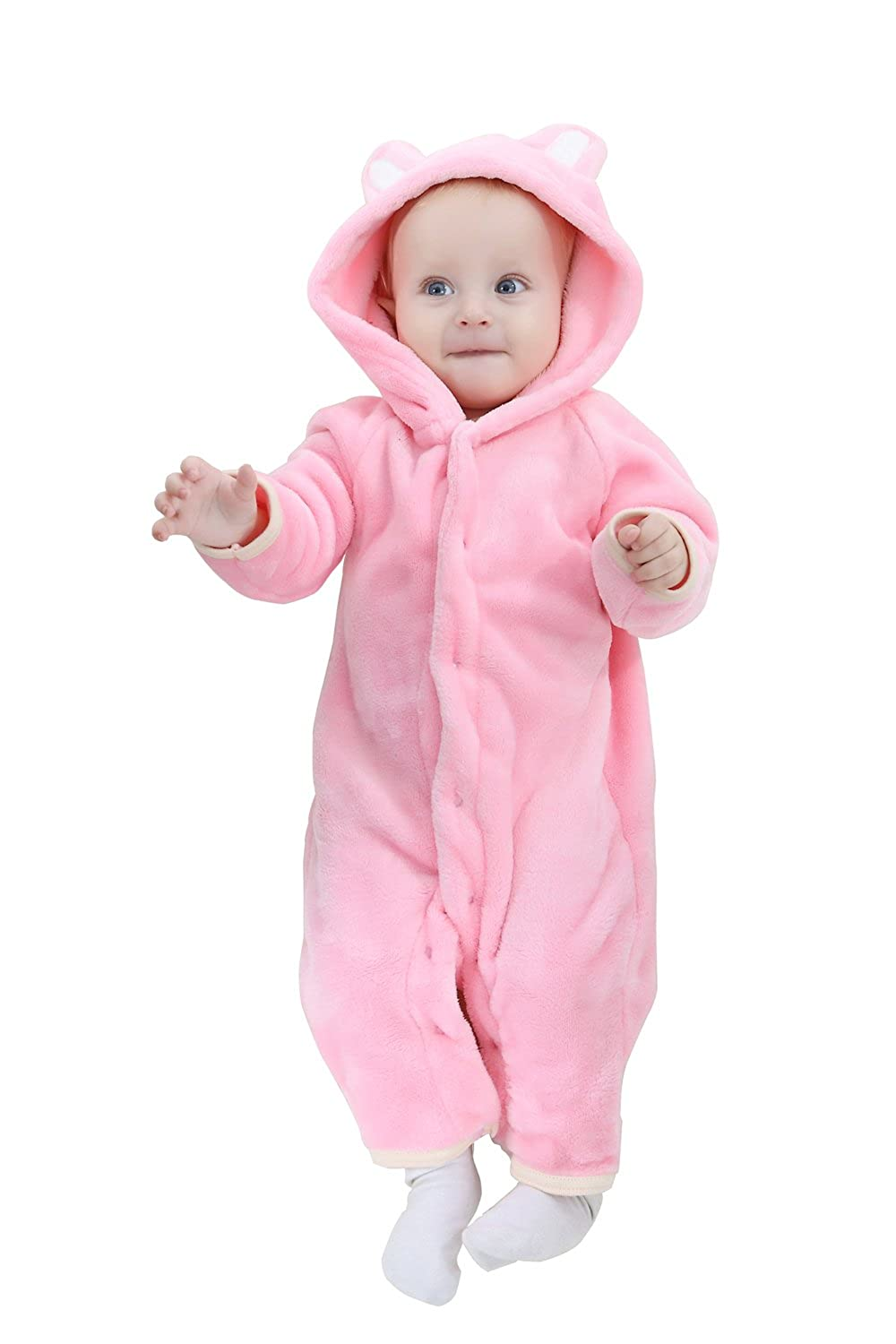 TSHSUN Baby Girls Boys Toddler Romper Bear Outfit Flannel Style Jumpsuit Autumn /& Winter Cosplay Clothes