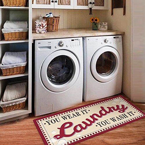 USTIDE Laundry Room Novelty Vintage Inspired Non Skid Laundry Room Floor Mat Accent Rug,Red