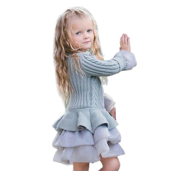 bd9ee7d87b5ec Little Girls Winter Dresses Knitted Sweater Crochet Tutu Dress Tops Clothes  (4T, Gray)