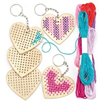 Baker Ross Wooden Heart Cross Stitch Keyring Kits for Beginners, Embroidery Set with Thread for Kids (Pack of 5)
