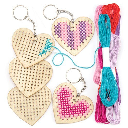 Baker Ross Wooden Heart Cross Stitch Keyring Kits (Pack Of 5) For Kids Arts & Crafts