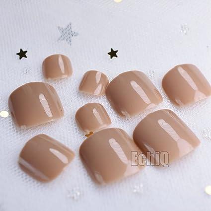 EchiQ - Pegatinas de uñas postizas para uñas postizas, color marrón claro, 24 unidades