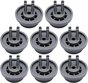 Primeswift Lower Dishrack Roller and Mounting Clip DD66-00023A (8 PK),Replacement Basket Roller for Samsung Dishwasher Models 2002711,PS4222532