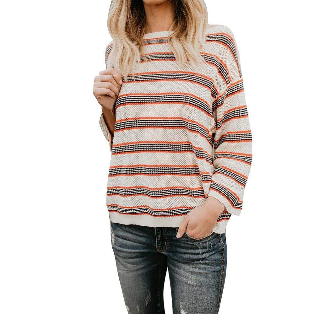 Littleice Women Loose Striped Printed Sweater Long Sleeve Blouse Shirt Teen Girls Jumper Crop Top Autumn Pullover Tops (M)
