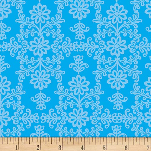 David Textiles Frida's Damask Blue Fabric Fabric by the - Cotton Fabric Damask