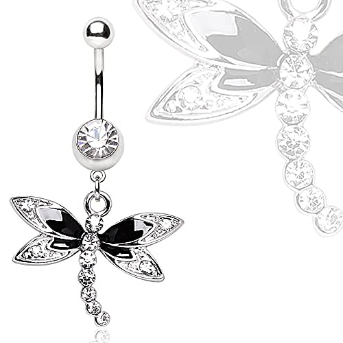 316L Steel Black Multi Gem Dragonfly Dangle Navel Ring Free Shipping L