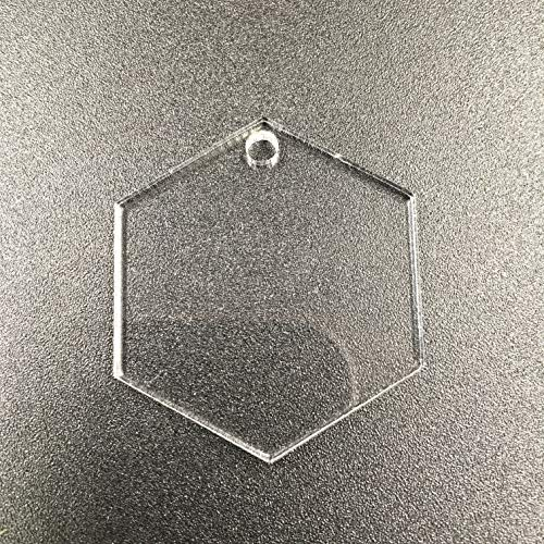 10pcs Acrylic Blank Hexagon Keychain Keytag Clear, Plexiglass Laser Cut Blank GeometricKeychain DIY Accessory 1/8