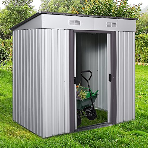 4' x 6' Metal Garden Storage Shed Utility Outdoor Backyard Lawn Tool House w/Sliding Door White and Warm Grey (Outdoor Storage Shed Yard)