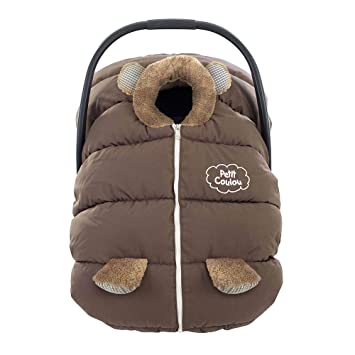 Petit Coulou Winter Car Seat Cover Brown Bleu Bear