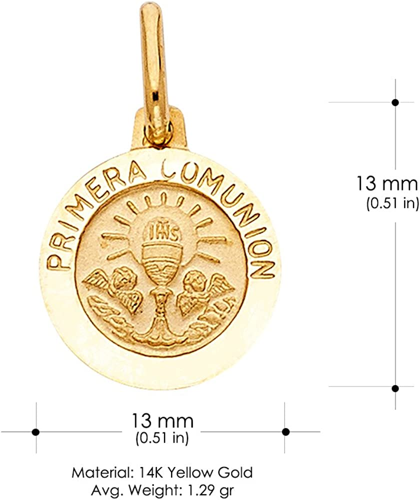 14K Yellow Gold Holy Primera Communion Charm Pendant with 0.9mm Wheat Chain Necklace