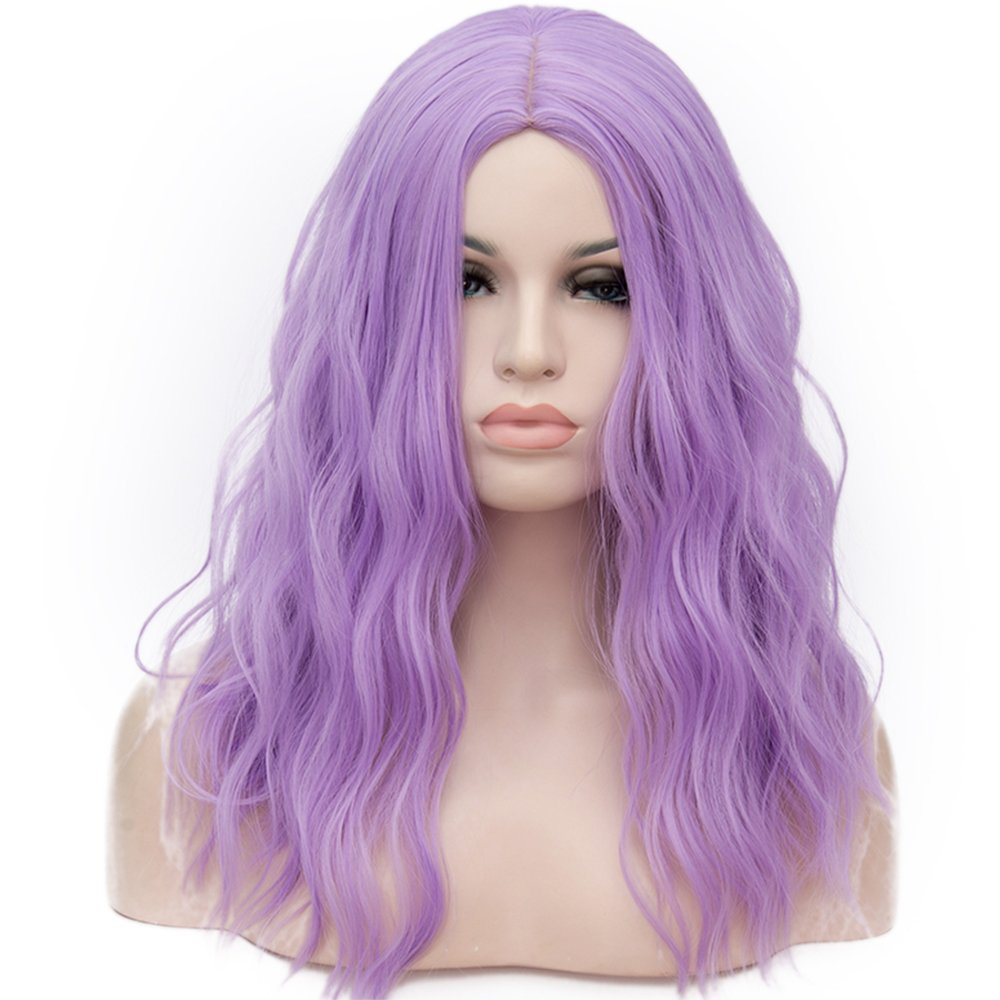 OneUstar Women's 18 inch Long Wavy Curly Wig Cosplay Party Wig Light Purple