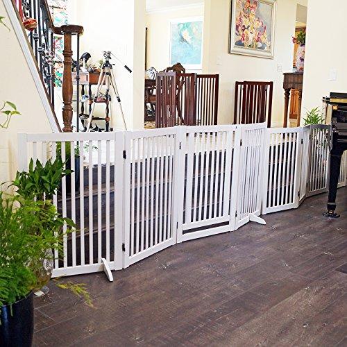 WELLAND Freestanding Wood Pet Gate w/ Walk Through Door, 88-Inch, White by WELLAND (Image #5)