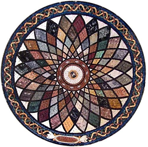 24 Inch Marble Mosaic - Mozaico - Round Marble Mosaic Medallion Artwork Handmade Decorative Tiles | Mosaic Designs | Mosaic Artwork | Mosaic Wall Art Floor Inlay by Mozaico | Handmade Mosaics | 24