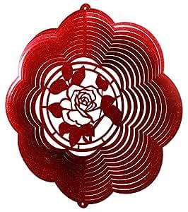 Rosa Nube Flor Swirly Metal Wind Spinner