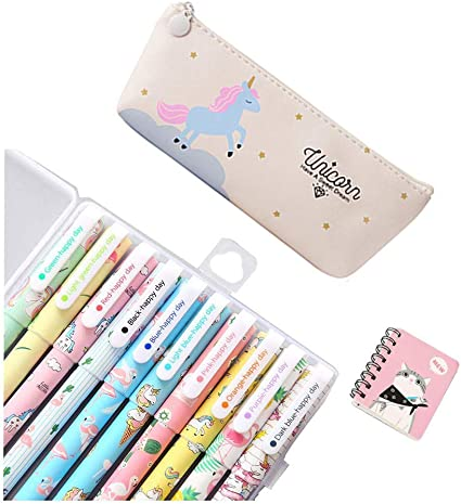 SmileStar - Lote de 10 bolígrafos de unicornio de colores y estuche y unicornio, para lápiz, unicornio,