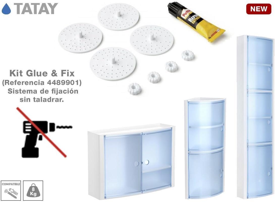 TATAY 4489901 - Kit de adhesivo + bases para fijación sin taladro de armarios de baño Tatay